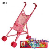 Коляска-тросточка 886 24шт 2 вида, пласт, двойные колеса, складная, в пакете 245437 см
