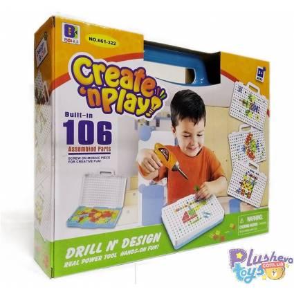 Мозаика Create And Play 661-322 С Шуруповёртом В Чемодане